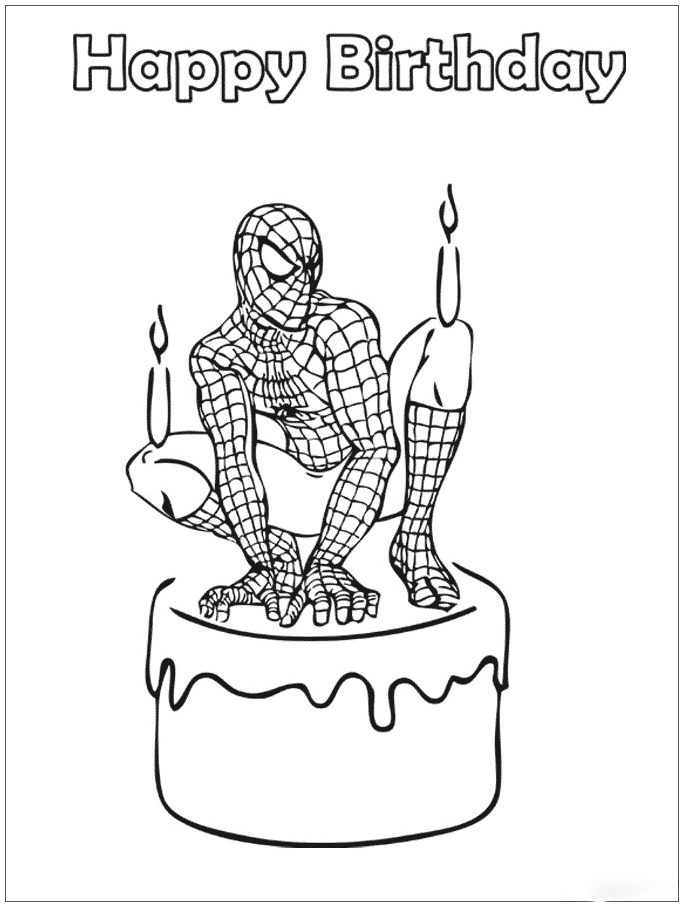 Spiderman Birthday Coloring Page