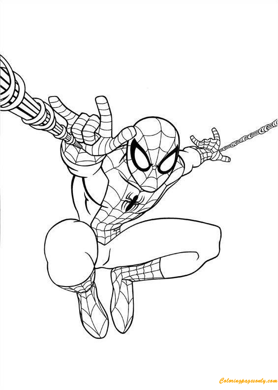 Spiderman Jumping Coloring Page