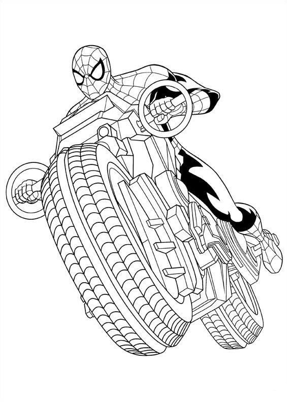 Spiderman Motor Coloring Page
