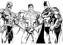 Spiderman Superman and Batman Coloring Page