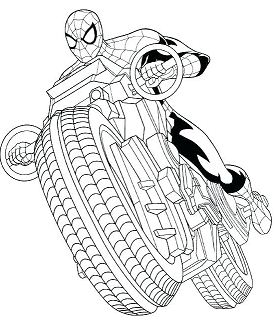 Spiderman with Motorcycle Coloring Page