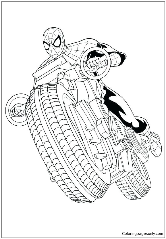 - Spiderman With Motorcycle Coloring Page - Free Coloring Pages Online