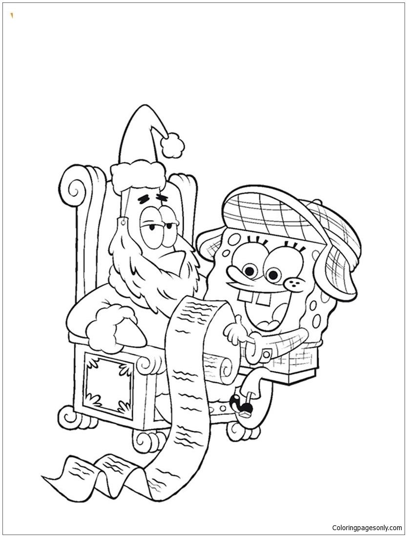 spongebob and his christmas wish list coloring page