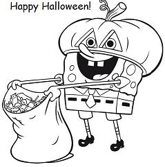 Spongebob Halloween Coloring Page
