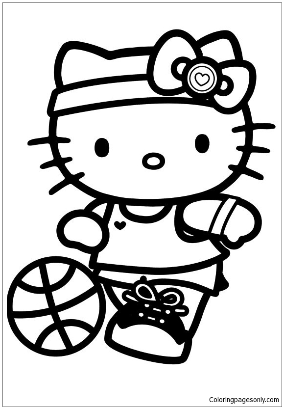 Sport Hello Kitty Coloring Page