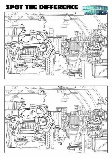 Spot The Difference Monster Truck Coloring Page