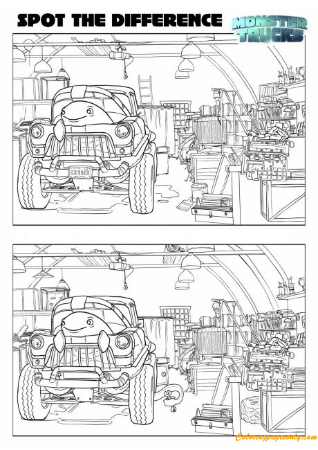 Spot The Difference Monster Truck Coloring Page Free