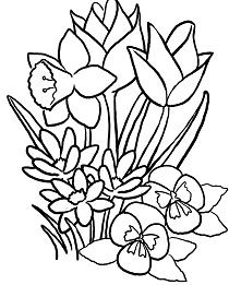 Spring Flowers 1 Coloring Page