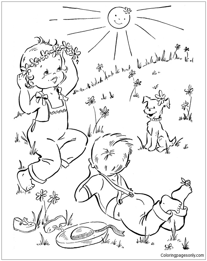 Spring Outdoor for Kids Coloring Page - Free Coloring ...