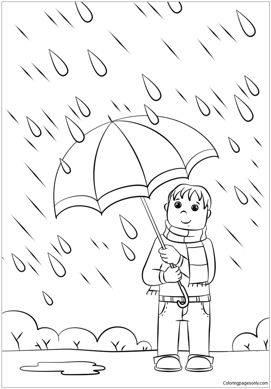 Spring Rain 1 Coloring Page