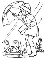 Spring Rain Coloring Page