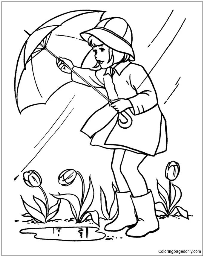 Spring Rain Coloring Page