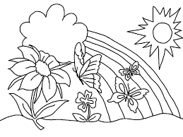 Spring With Butterfly, Flower And Rainbow Coloring Page
