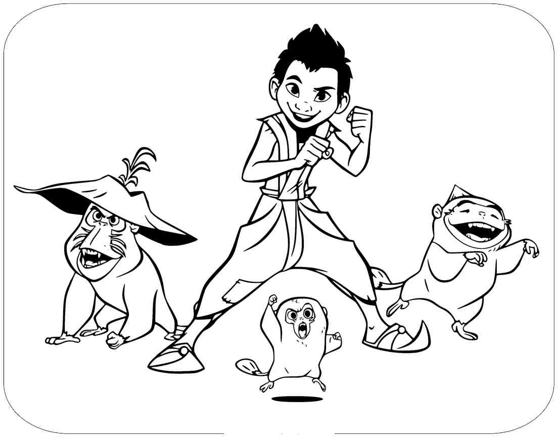 Squad of Boun Kid Captain and Team Ongis Coloring Page