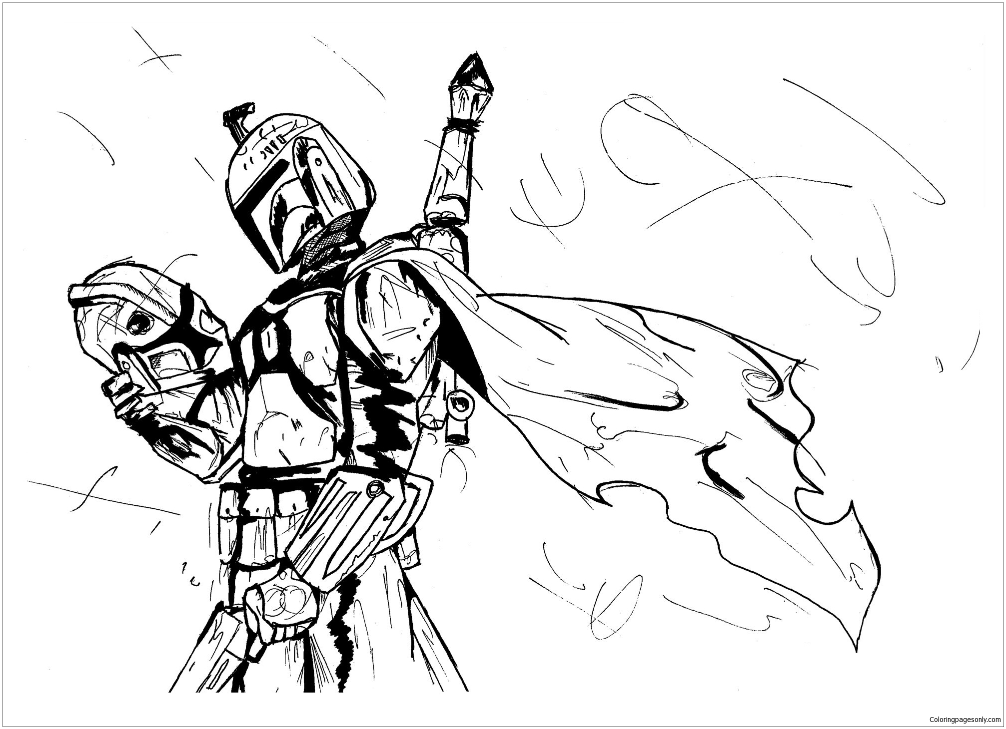 Star Wars Boba Fett Coloring Page - Free Coloring Pages Online