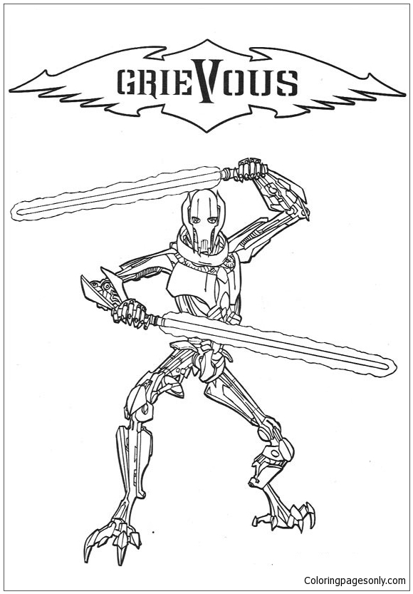 Star Wars Grievous Coloring Page