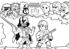 Star wars luke darth vader fight Coloring Page