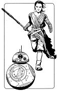 Star Wars Rey and BB8 Coloring Page