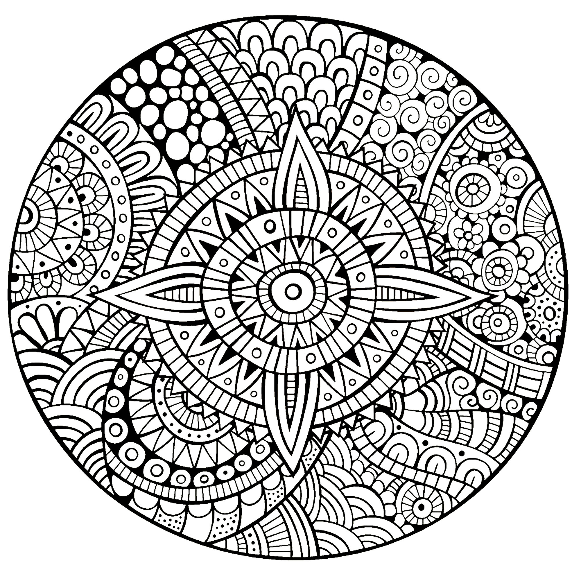 Star With Strange Patterns Coloring Page