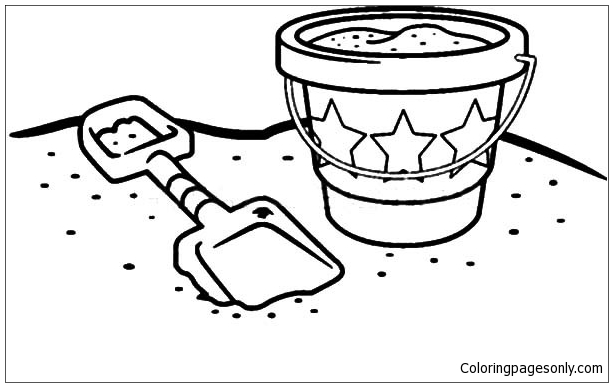 Starry Beach Bucket At The Beach Coloring Page