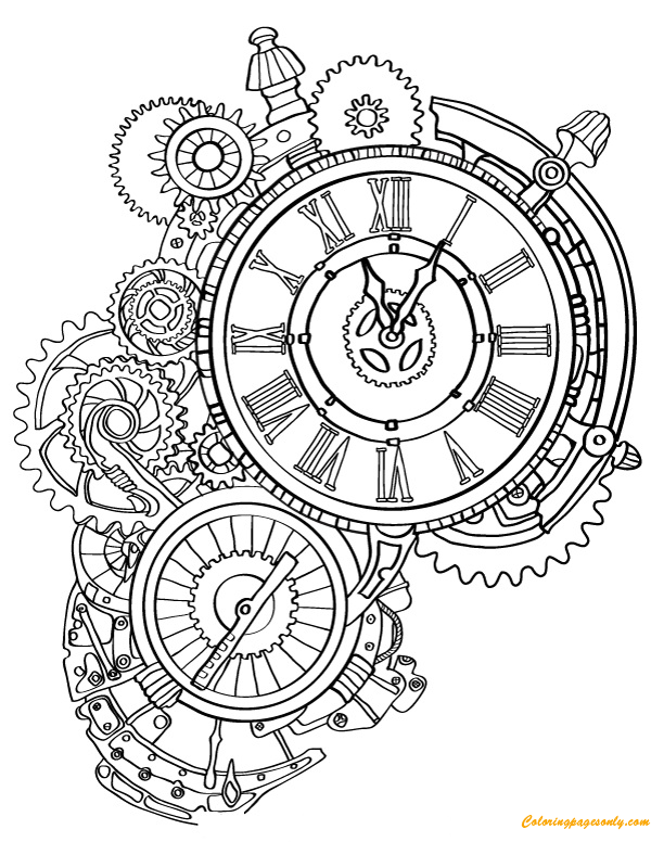 steampunk wall clock coloring page free coloring pages. Black Bedroom Furniture Sets. Home Design Ideas