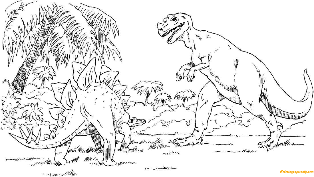 - Stegosaurus And Tyrannosaurus Coloring Page - Free Coloring Pages Online