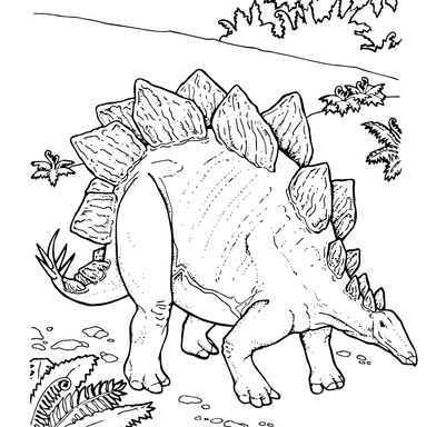 Stegosaurus Armored Dinosaur Coloring Page
