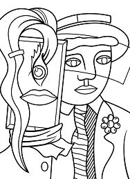 Stepping out by Roy Lichtenstein Coloring Page