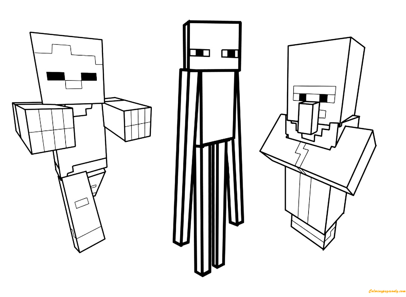 Steve Sitting With Minecraft Coloring Page Free Coloring Pages