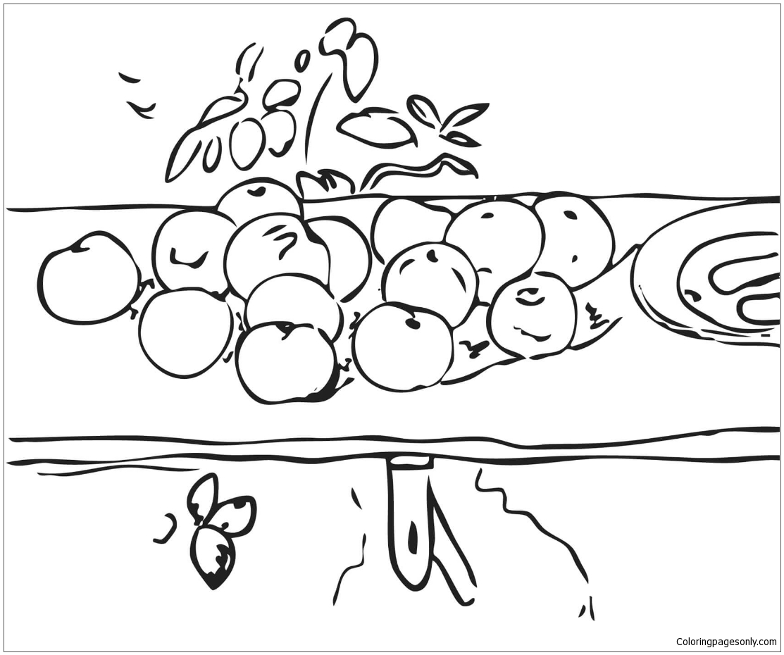 Still Life With Apples By Paul Cezanne Coloring Page