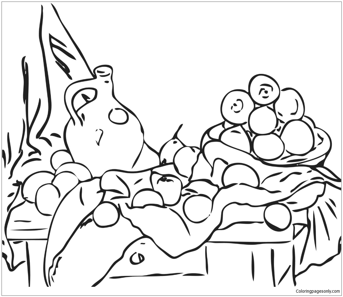 Still Life with Jug and Drapery by Paul Cezanne Coloring Page Free