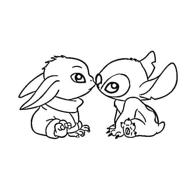 Stitch and Baby Yoda Coloring Page
