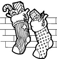 Stockings Full of Christmas Presents Coloring Page
