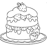 Strawberries Cake Coloring Page