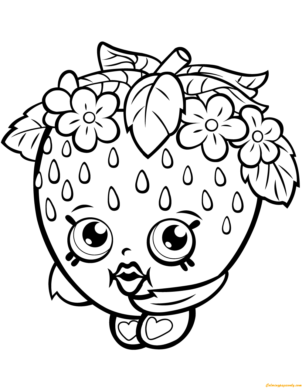Strawberry Kiss Shopkin Season 1 Coloring Page Free