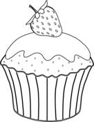 Strawberry with Muffin Coloring Page