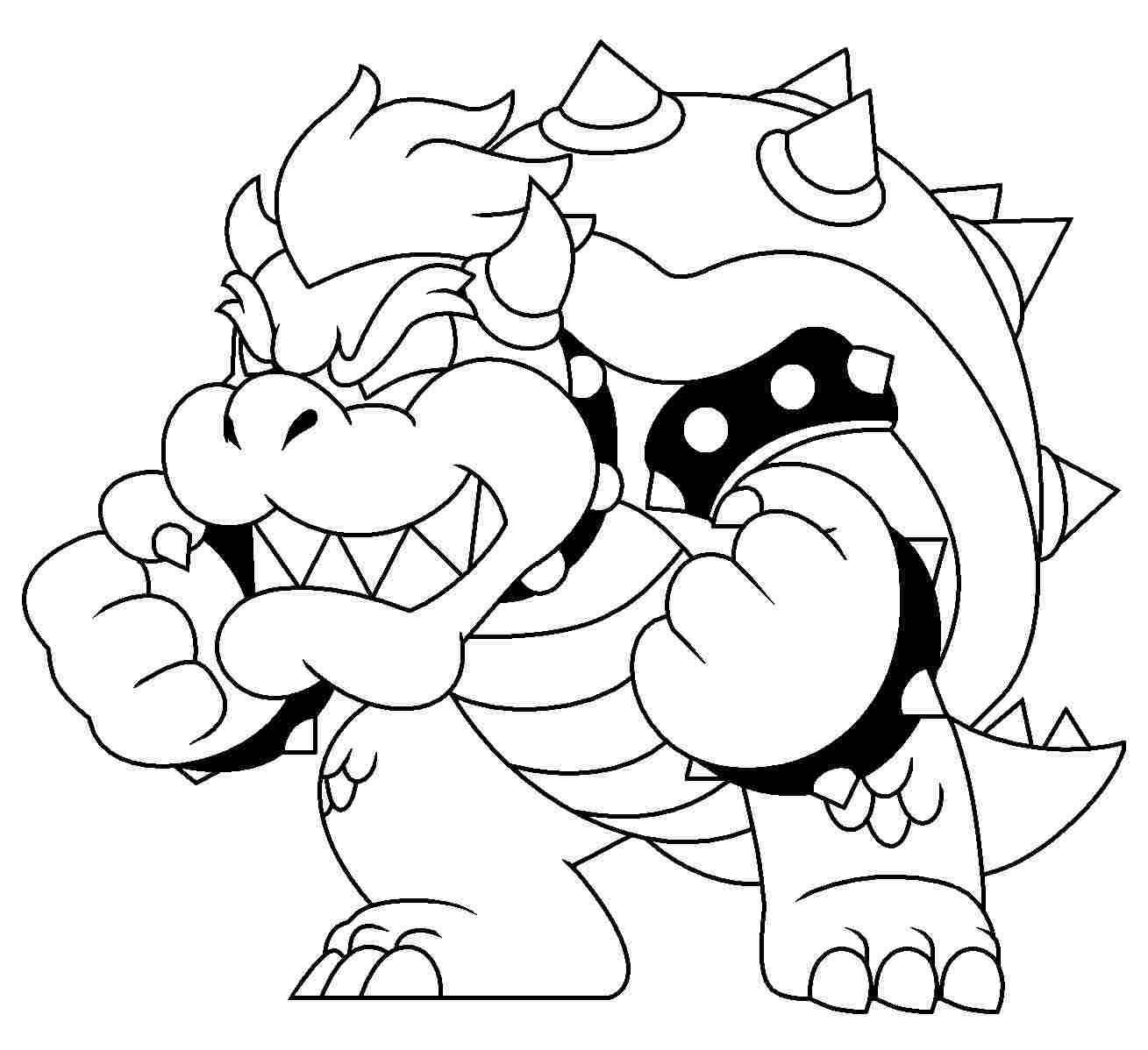 Strength of Bowser in Super Mario 3D World Coloring Page