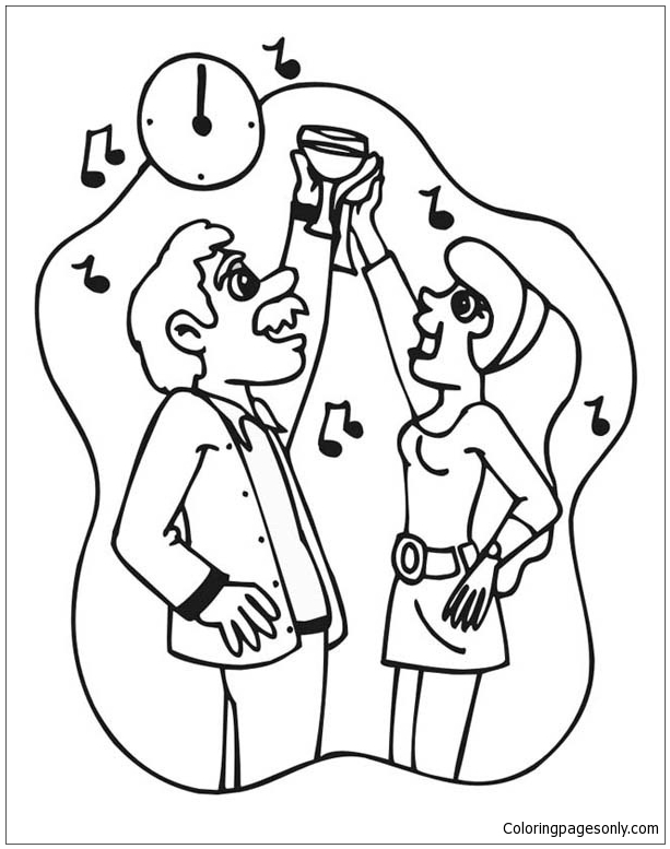 Stroke Of Midnight On New Years Eve Coloring Page