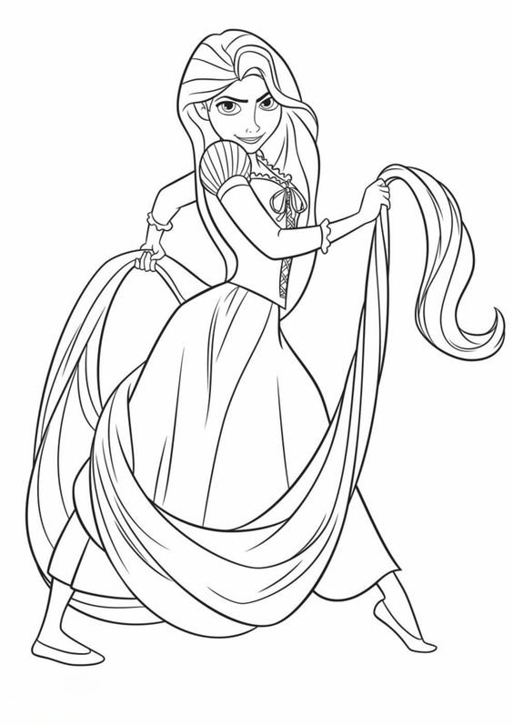 Strong Rapunzel Coloring Page