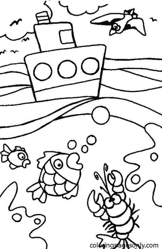 Submarine are floating on the ocean surface Coloring Page