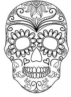 Sugar Skull Pumpkin Coloring Page