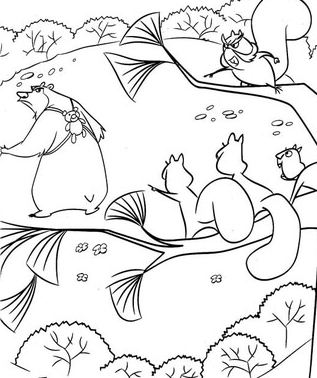 Suirrels And Boog Coloring Page