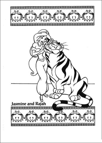 Jasmine And Rajah from Aladdin Coloring Page