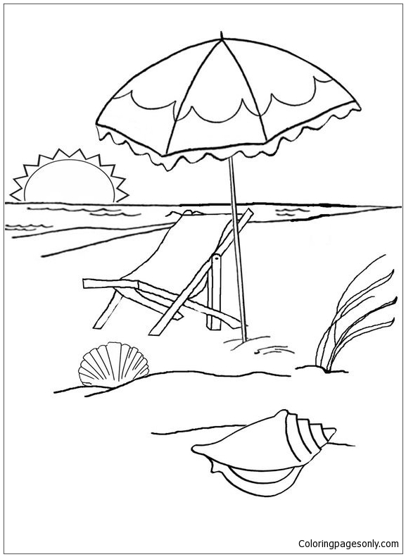 Summer At The Beach Coloring Page