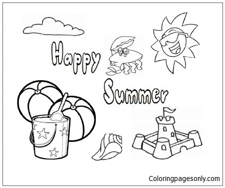 Summer Beach 1 Coloring Page