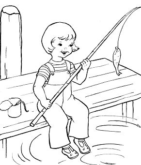Summer Fishing With Baby Coloring Page