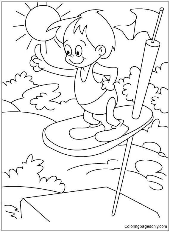 Summer Jumping Coloring Page