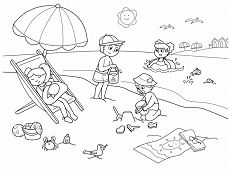 Summer on the beach of the small friends Coloring Page