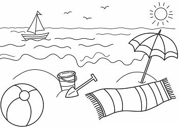 Summer On The Beach Coloring Page