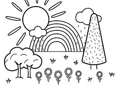 Summer Scene Coloring Page